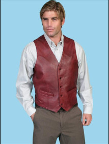 Scully® Men's Black Cherry Lambskin Western Vest