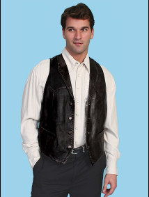 Scully® Men's Black Lambs Leather Whip Stitch Western Vest