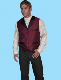 Scully® Mens Red Paisley Notch Lapel Western Vest