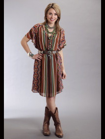 Stetson® Brown Serape Print Chiffon Western Dress