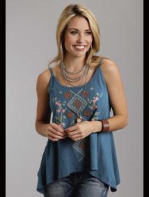 Stetson® Women's Teal Embrodiered Handkerchief Hem Western Tank Top