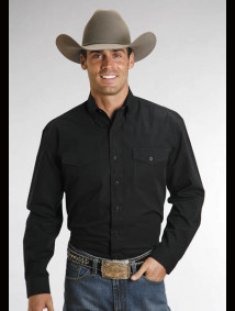 Stetson® Mens Black Poplin Long Sleeve Button Down Western Shirt