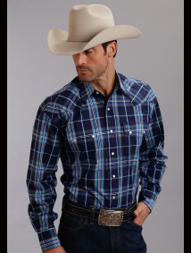 Stetson® Men's Midnight Blue Plaid Long Sleeve Snap Front Western Shirt