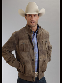 Stetson® Mens Light Brown Distressed Suede Western Jacket