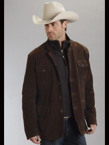 Stetson® Mens Dark Brown Suede & Wool Lined Western Jacket