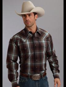 Stetson Mens Cowboy Shirt - Mahogany Thunder