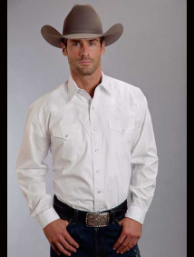 Stetson® Mens White Poplin Fancy Yoke Long Sleeve Snap Front Cowboy Shirt