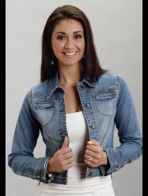 Stetson® Women's Denim Zipper Cuff & Pockets Cropped Western Jacket