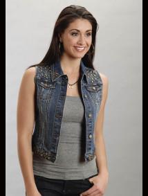 Stetson® Women's Denim Studded Cropped Western Vest