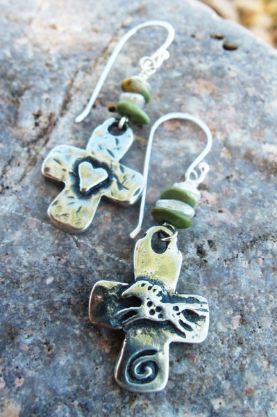 Primitive Cowgirl Cross Earrings