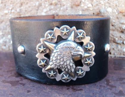 Eagle Concho Leather Cuff