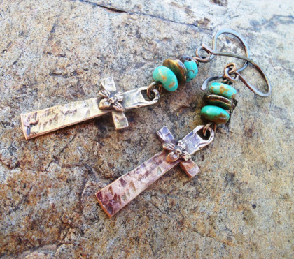 Rustic Bronze Cross Earrings