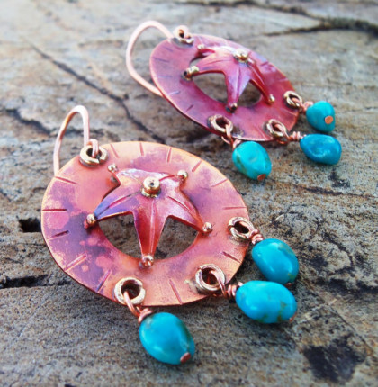 Copper Texas Star and Genuine Turquoise  Earrings