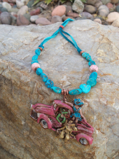 Turquoise & Leather Vintage Pink Pickup Truck  Necklace