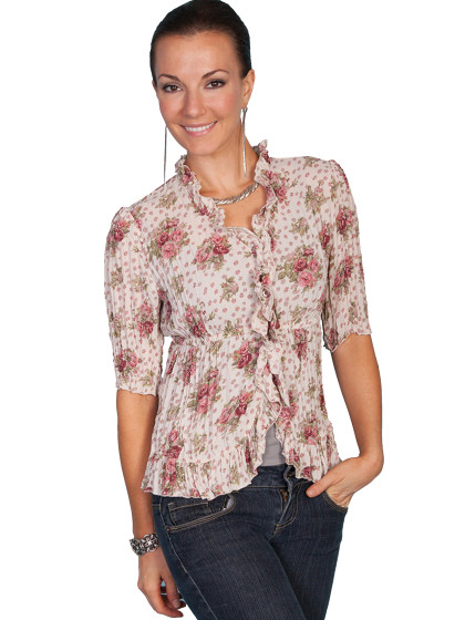 Pink Roses Ruffled  Blouse by Scully®