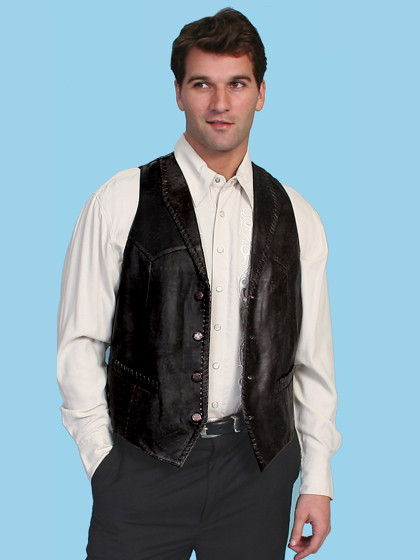 Scully 174 Men S Black Lamb Leather Whip Stitch Western Vest
