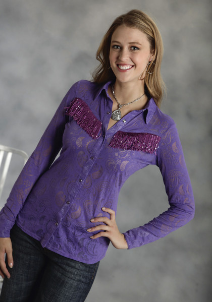 Womens Sheer Purple Paisley Western Blouse ~ Sparklin Grape Fringe