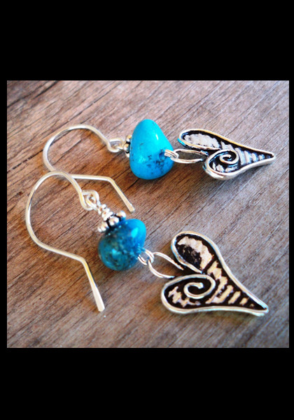 Artisan Sterling Silver Hearts & Nacozari Turquoise Earrings
