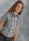 Roper® Women's Blue Southwest Plaid Short Sleeve Snap Western Shirt