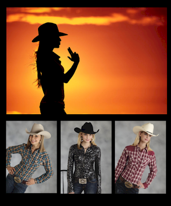 Multiple cowgirls wearing cowgirl shirts and dresses with boots