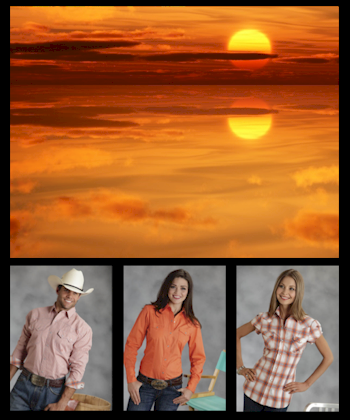 Cowboy and Cowgirls wearing Orange Western Shirt