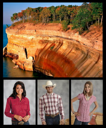 cowgirls and cowboys wearing red western shirts