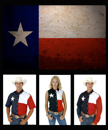 mens and ladies wearing texas flag shirts