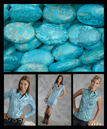Cowgirls wearing different kinds of turquoise western shirts