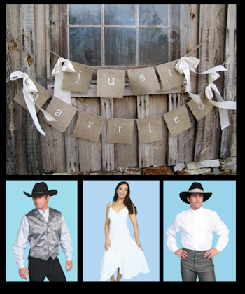 cowboy and cowgirls wearing western vest, shirts and dress for a country wedding