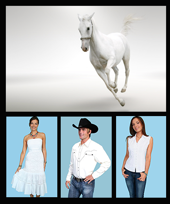 Men and Women wearing white western shirts