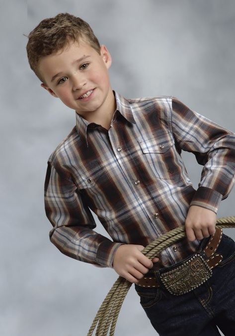Roper boys brown hawthorne plaid long sleeve snap kids western shirt
