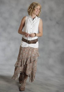 Long Ruffled Western Skirt