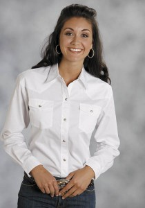 Ladies White Western Shirt