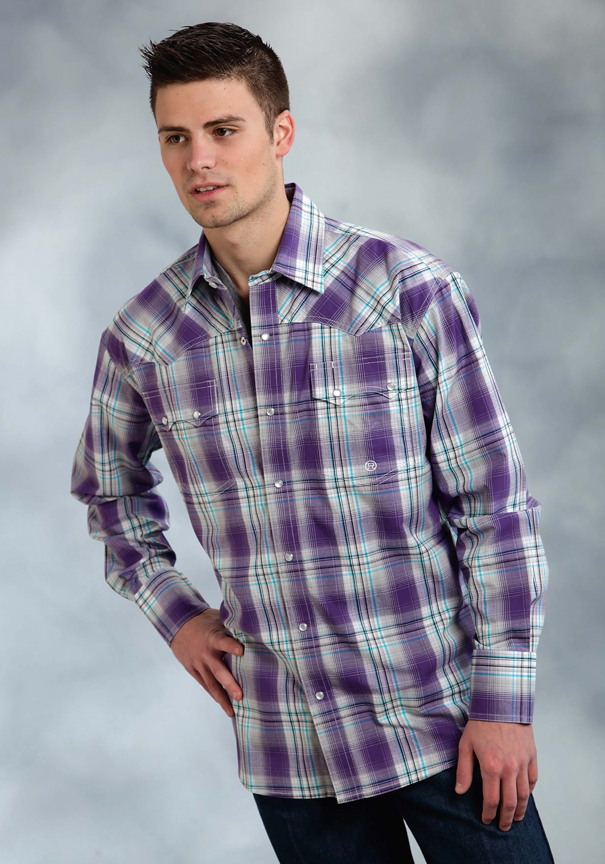 Mens Purple Plaid Shirt