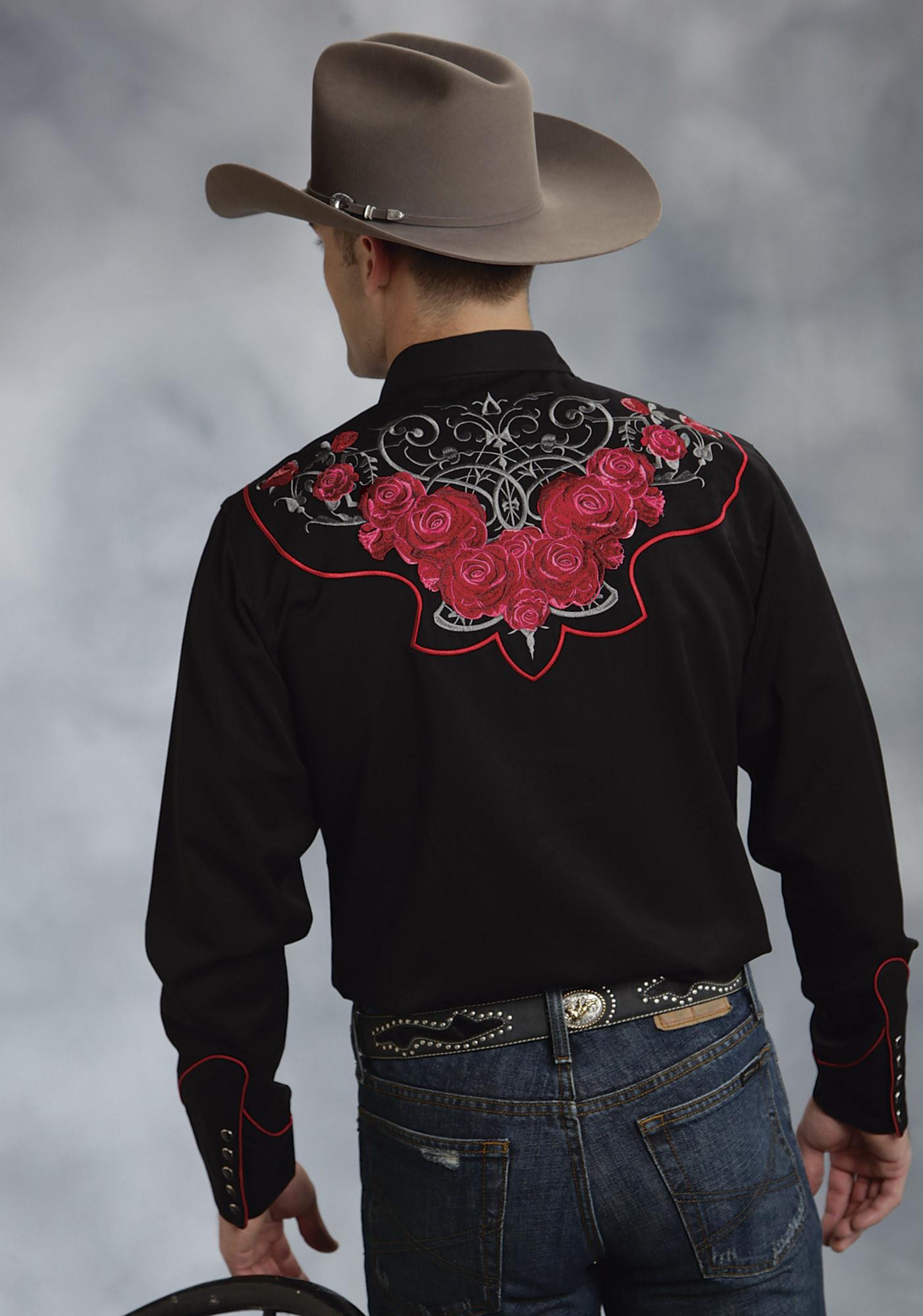 Roper men s black tribal rose embroidered long sleeve