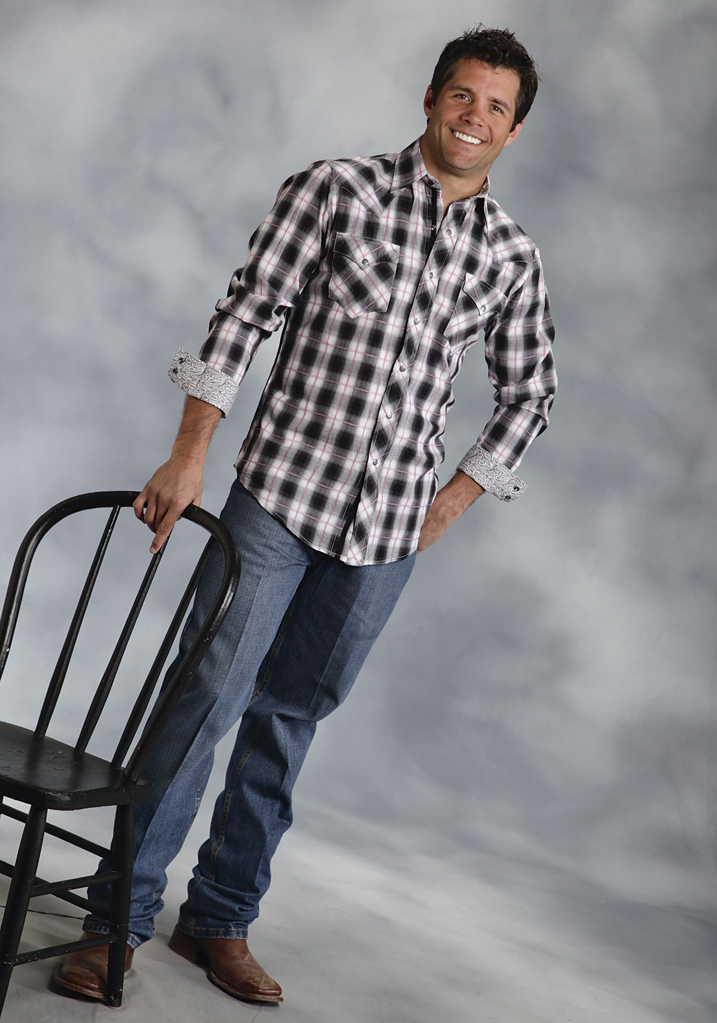 Roper 174 Mens Black And White Plaid Long Sleeve Snap Western