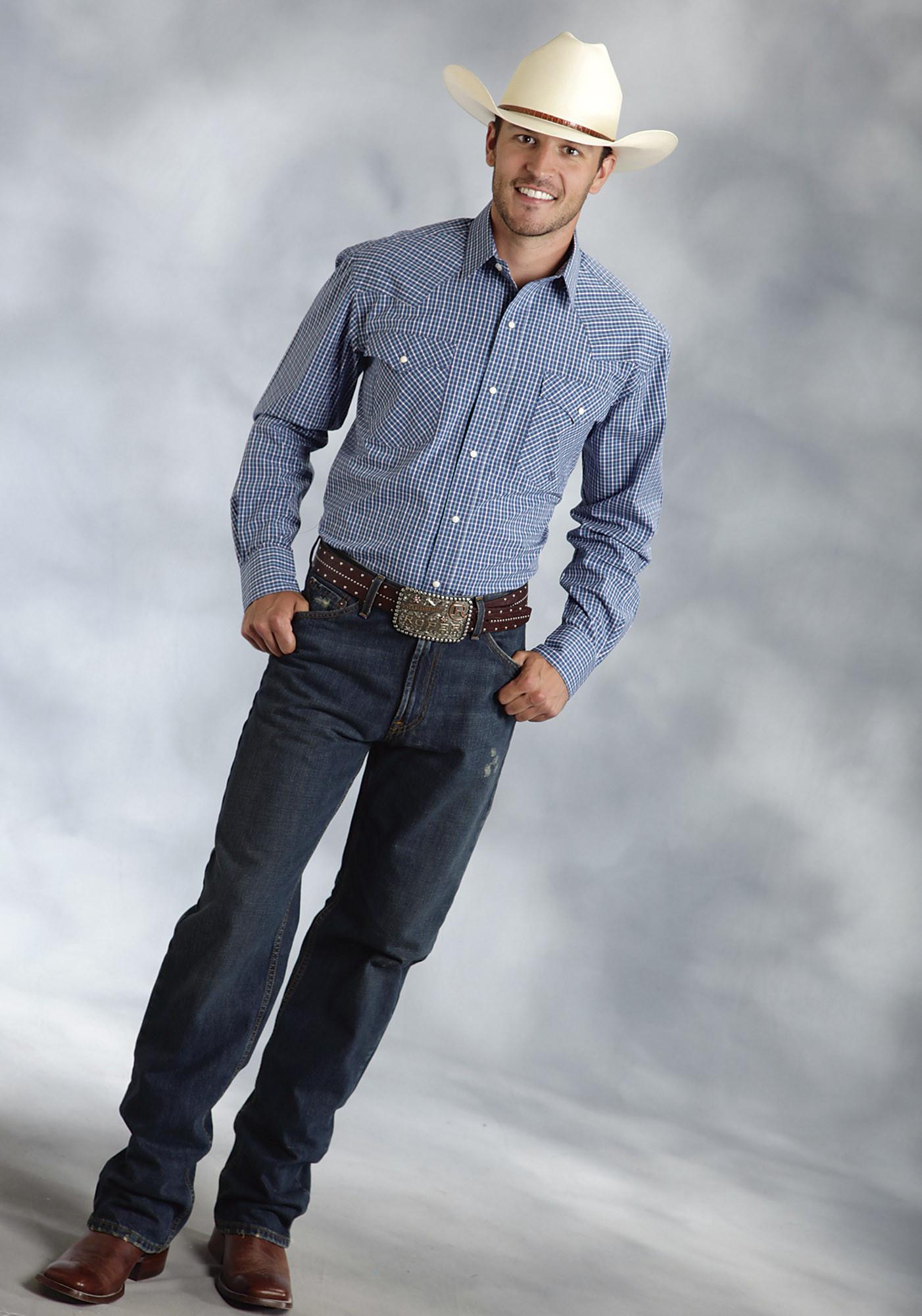 Details about  /Roper Western Shirt Mens L//S Solid Snap 2XL Blue 03-001-0185-0322 BU