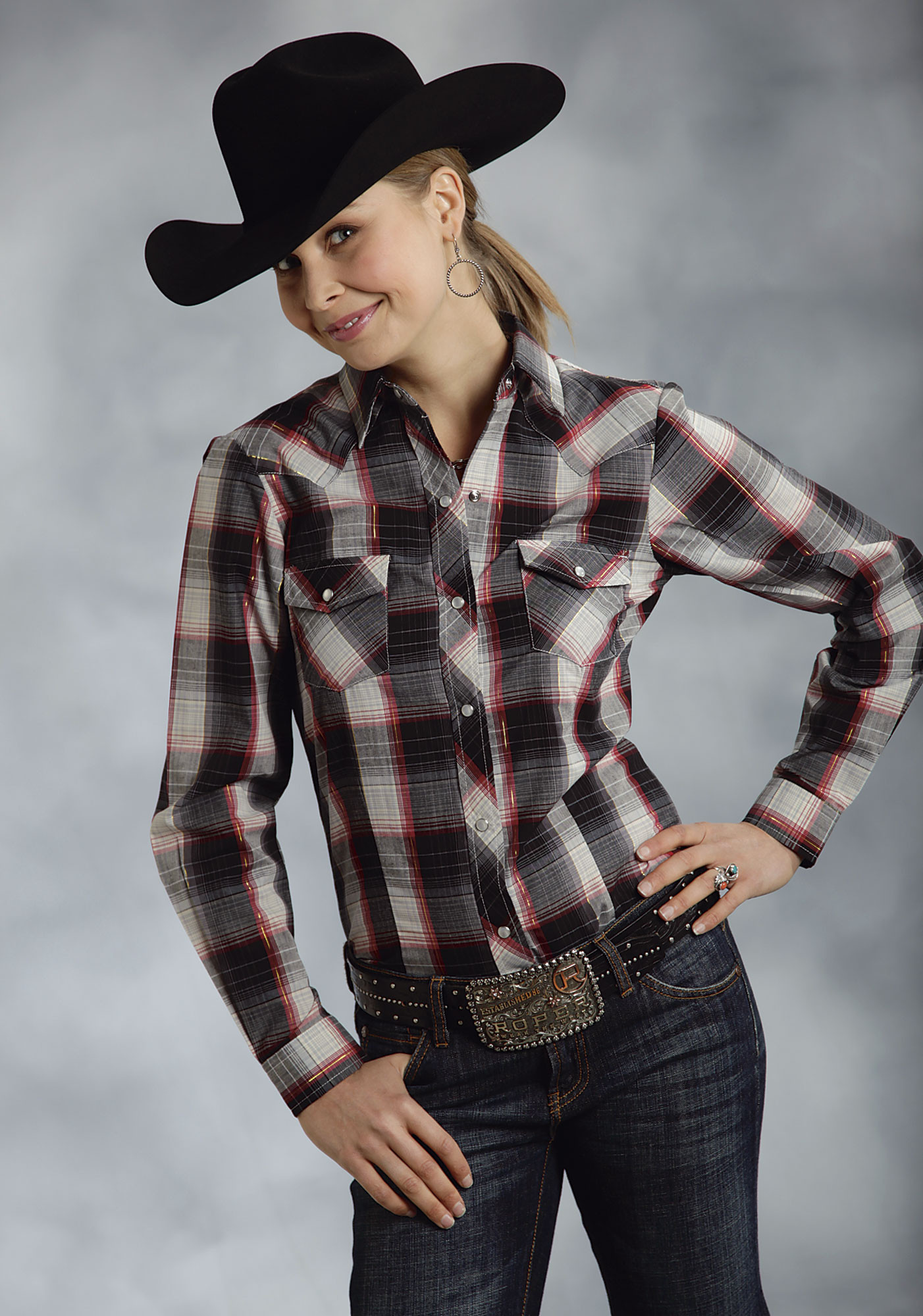 Roper 174 Women S Black Plaid Snap Ls Cowgirl Shirt