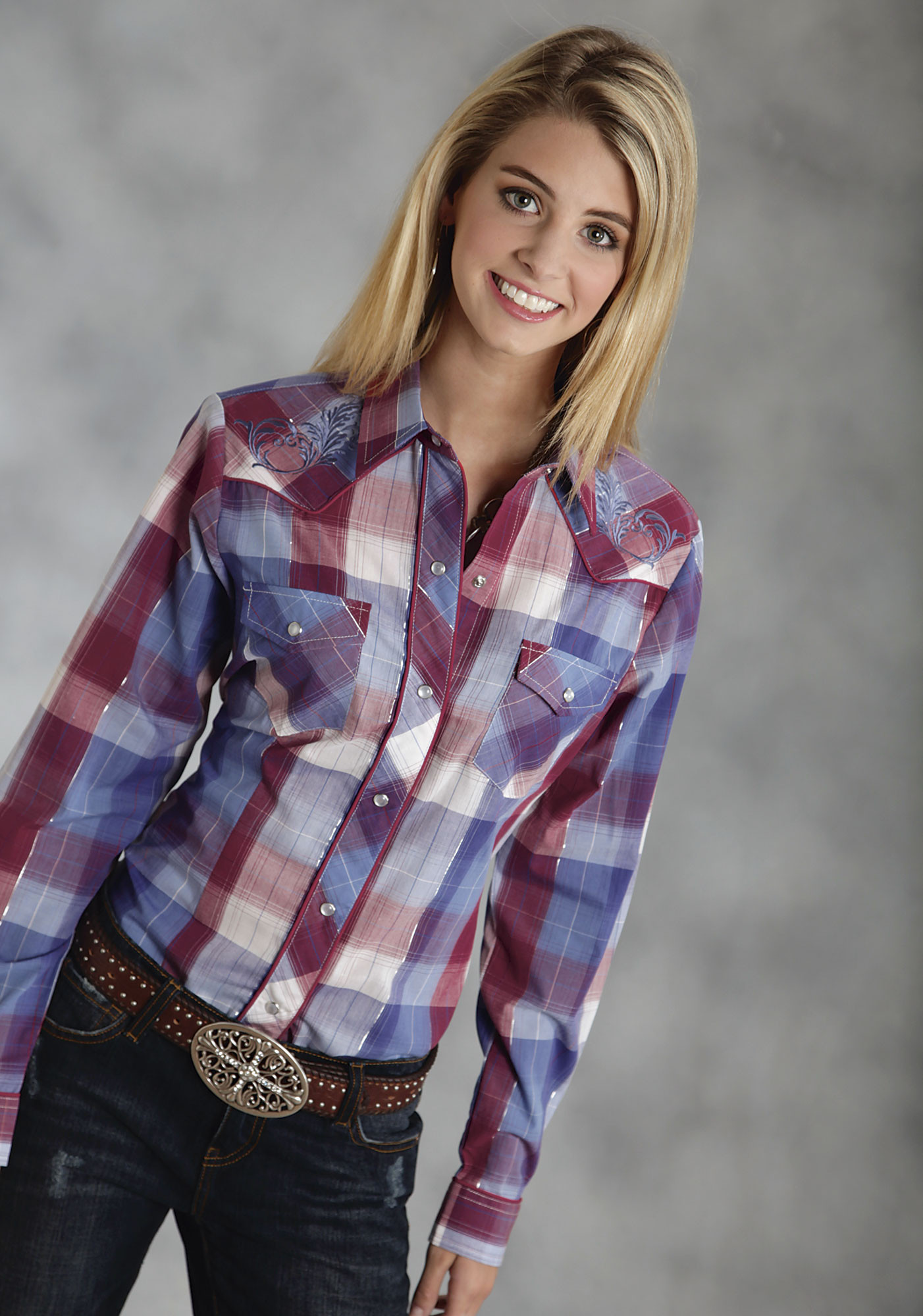 Roper womens red white blue swirl embroidered plaid Womens red tartan plaid shirt