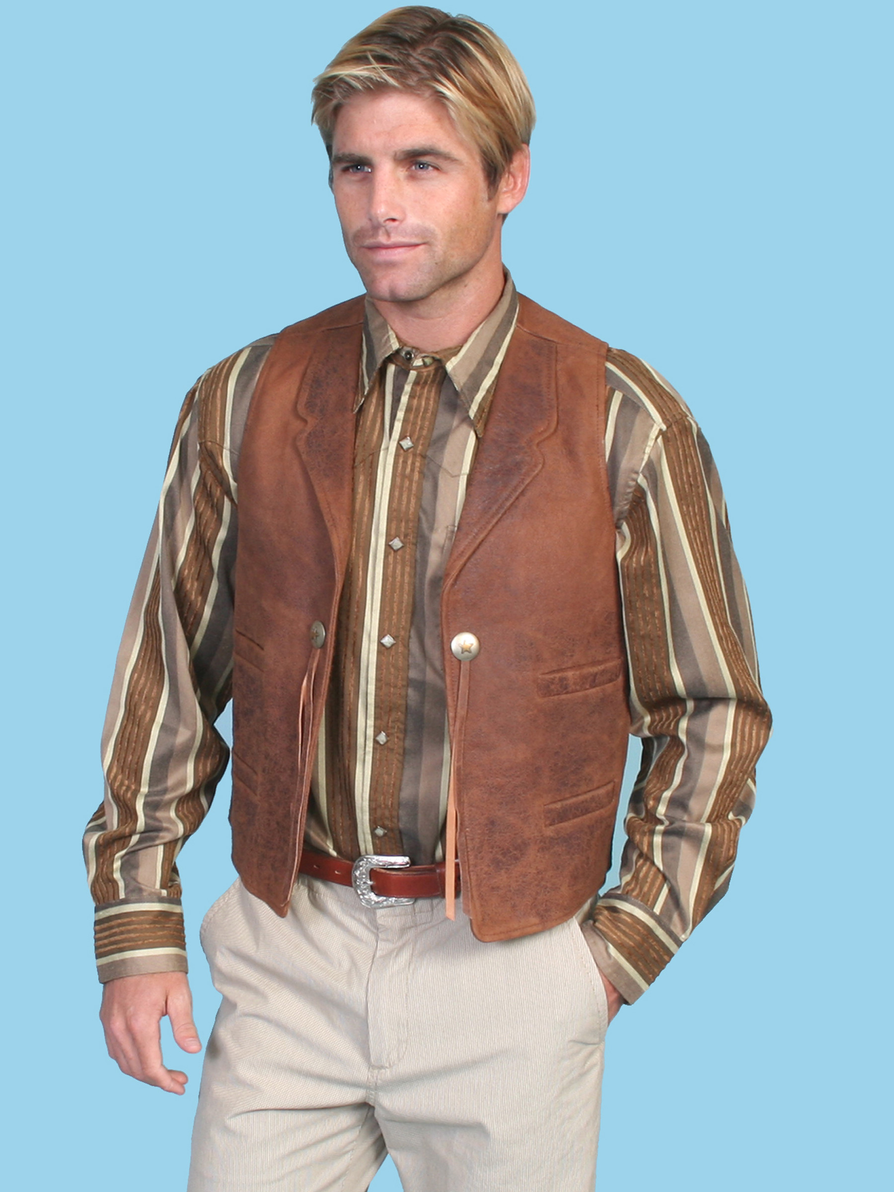 Scully 174 Mens Brown Lambskin Concho Vest