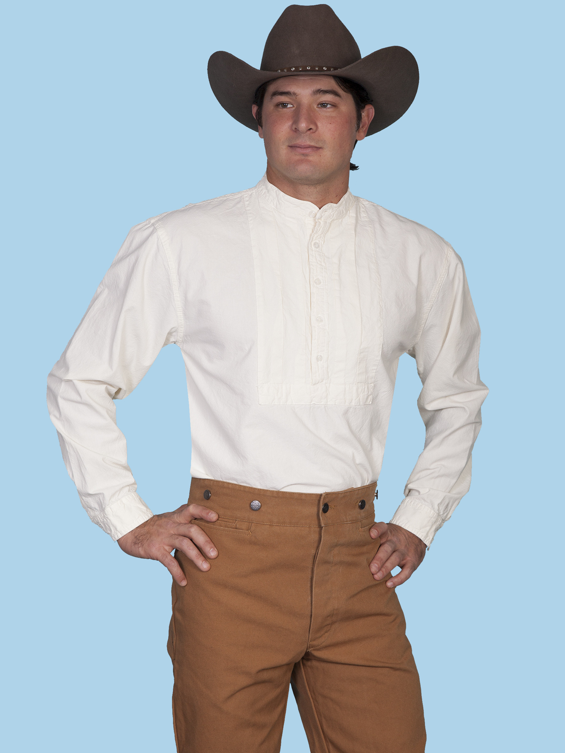 scully u00ae mens solid pleated bib long sleeve old west shirt