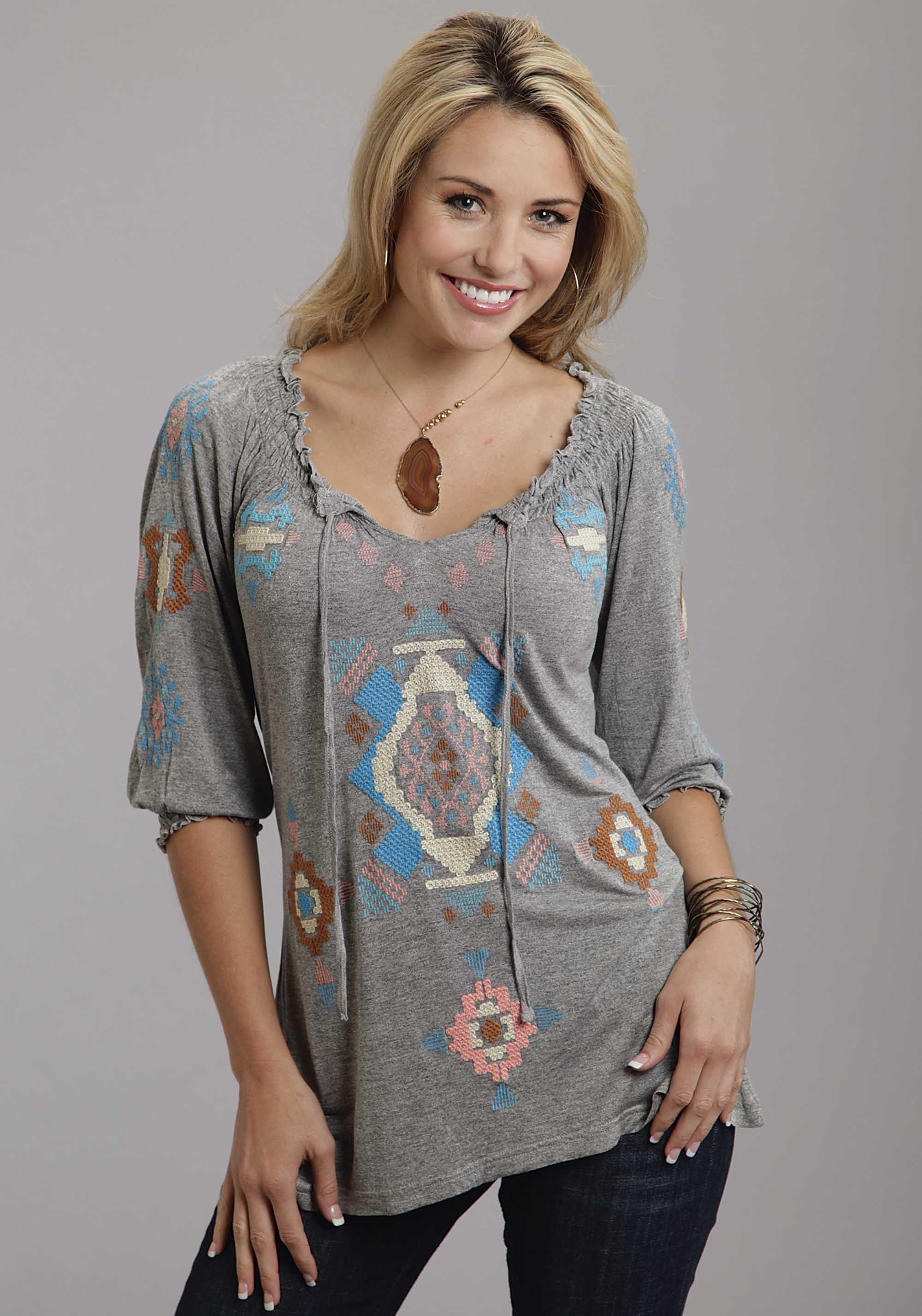 Steston 174 Women S Grey Embroidered 3 4 Sleeve Smocked