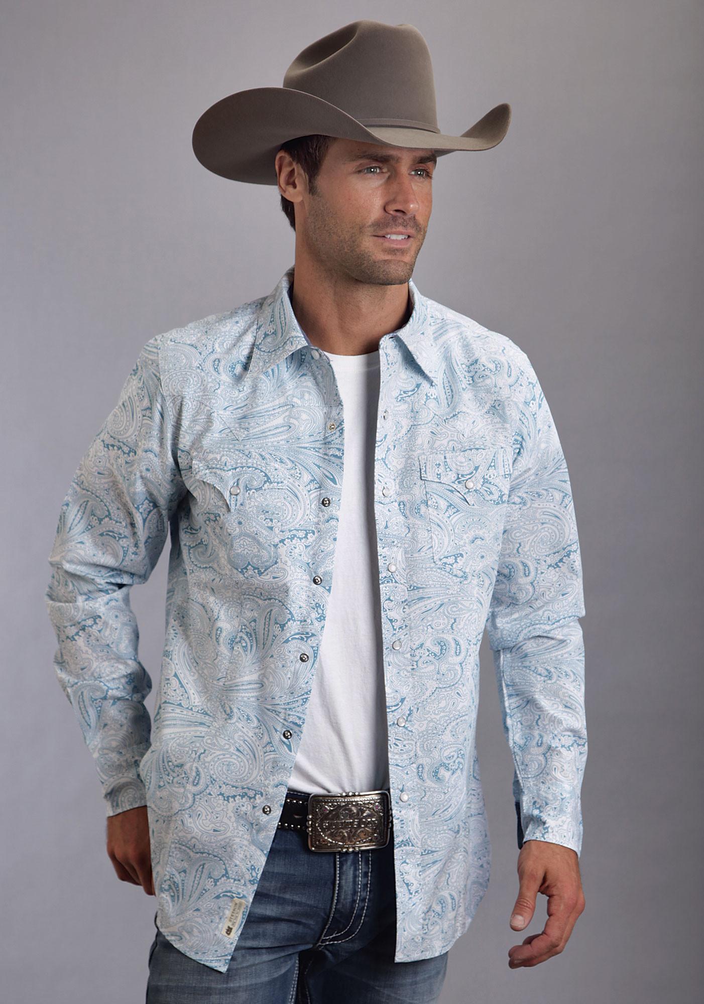 Stetson 174 Mens Blue Paisley Poplin Long Sleeve Snap Cowboy