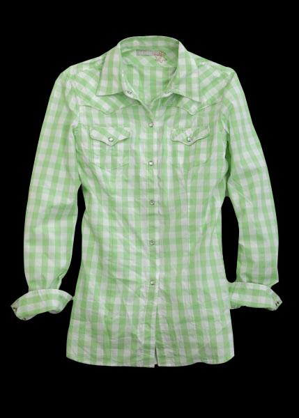 Tin Haul 174 Green White Check Plaid Cotton Ls Cowgirl Shirt